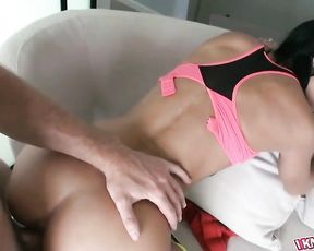 Sexy gym toned brunette babe gets her pussy fucked hard