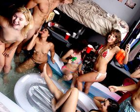 Naked girls host a wild pool sex party in their dorm room