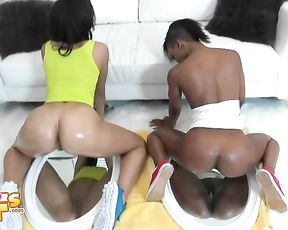 Fucking my black girlfriend and her hot best friend after watching them twerk it