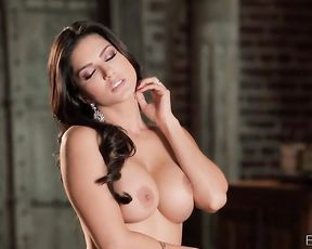 Hot brunette lingerie model masturbates herself