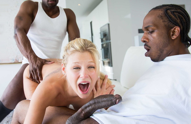 Hot blonde getting fucked by two huge black cocks