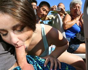 Crazy girlfriend sucking her boyfriend's dick on a crowded tour bus