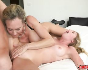 Dude gets to fuck this hot MILF and her young stepdaughter
