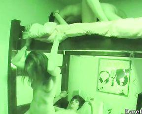 College co-eds in heat fucking in a wild dorm room sex romp