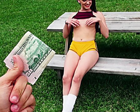 Hot girl was in park when young man approached and paid her for naked fucking