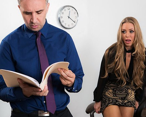 Boss forgets about work as secretary girl is in mood for naked sex
