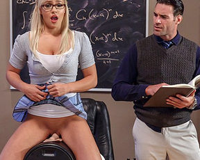 Teacher calls bad girl to his office and punishes naked pussy with cock