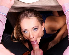 Naked girl makes it to man of the house during the dinner in front of guests