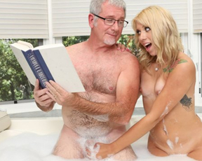 Old man still has enough skill to satisfy craves of blonde naked girl