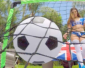 Funny soccer game ends for girl and her man with naked POV encounter