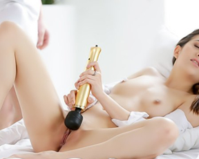 Lover's big dick and vibrator drive naked girl to new level of pleasure