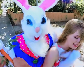 Pale-skinned girl takes Easter Bunny's cock in hairy naked pussy
