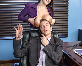 Busty secretary distracts her boss to have wild naked sex on table