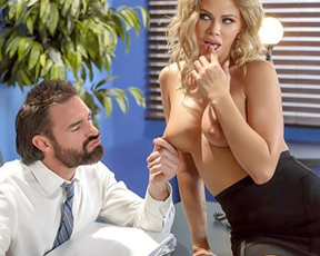 Bearded boss calls naughty secretary and gives her naked cock ride on table