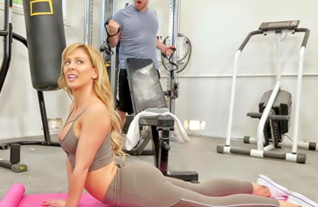 Pornstar skillfully sucks cock and receives it in naked cunt in gym