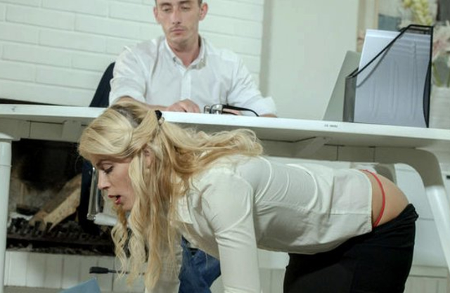 Smart blonde secretary tempts colleague into naked fuck in office
