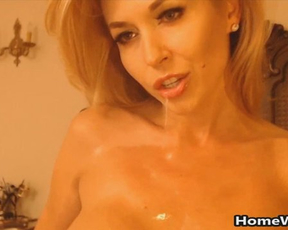 Wet naked milf with big fake tits craves for cock and opens legs to get stuffed