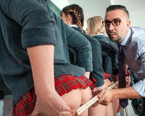Perverted dude explores naked butts of sexy girls in the office before fucking them hard