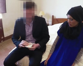 Shy Arab girl in hijab needs money so she worships man's naked dick