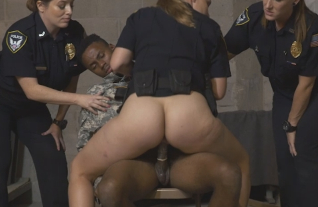 Policewomen catch fake soldier and one of them rides naked black cock