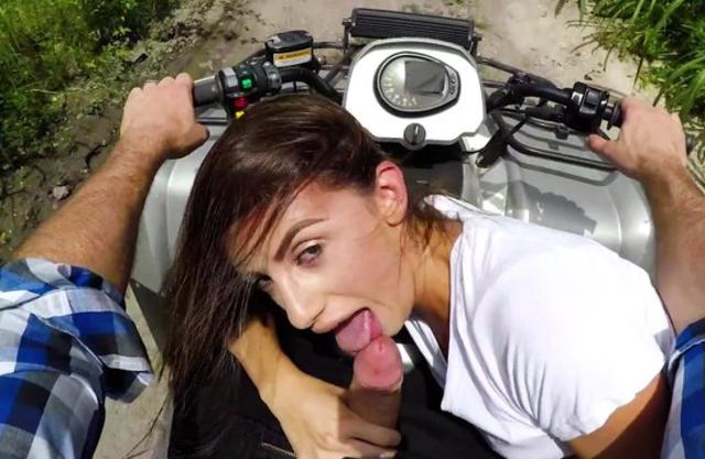 Driver picks up good-looking pedestrian for naked sex on quad bike