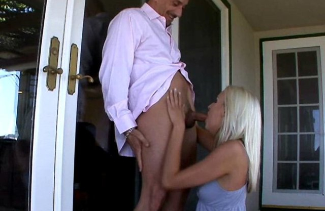 Bald man receives a lot of pleasure from sex with blonde naked girl