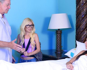 Girl doesn't know where to run from great pleasure of being fucked by naked stepmother