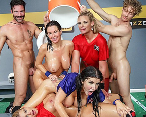 Four busty girls celebrate end of football season by embarking naked orgy