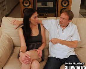 Slim brunette girl cheats on hubby by having naked fun with stranger