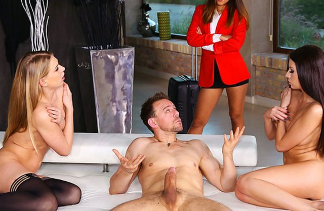 Lucky dude invites naked sluts to take a ride on his big massive pecker