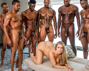 Hot busty blonde lets this black guy and all his friends fuck her and cum inside her