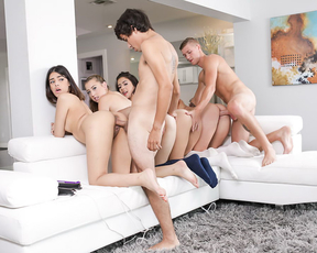My buddy and I have a blast banging our four hot naked girls