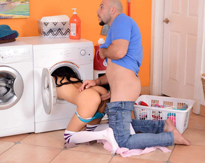 Cute chick makes hung white guy cheat on his wife and fuck her in the laundry room