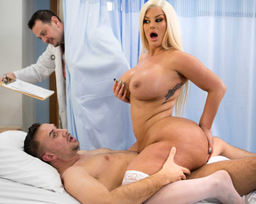 Hot thick blonde nurse makes her patient feel better with her big tits and big ass