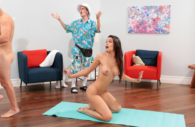 Stunning brunette with big tits can&t stop fucking her yoga instructor even when her husband is around