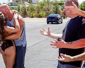 Pornstar picks up strong stranger for naked fuck back at her place