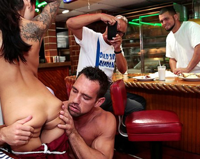 Latina chick craves for naked cock and pumped man fucks her in the bar