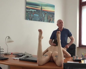 Teen office girl can't focus on work until old naked boss fucks her