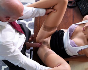 Latina girl is a bad worker still she can serve naked cock of bald boss