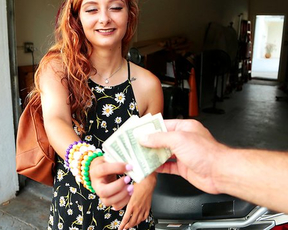 Beautiful girl with red hair worships stranger's naked cock for cash