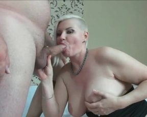 Busty blonde MILF shows on webcam how she loves to suck naked cock