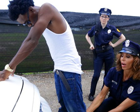 Police officers arrest black guy and want to taste his naked weapon
