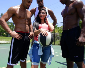 Three Ebony basketball players have fun with adorable naked chick