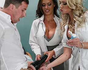 Patient is totally naked when busty nurses are ready to be scored