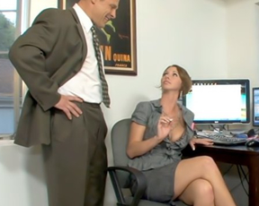 Secretary decides to help excited boss and takes cock in naked vagina