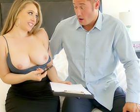 Stunning blonde shows naked tits to make guy sign a contract then has sex