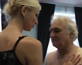 Naked sex helps blonde nurse with juicy tits extract old man's sperm
