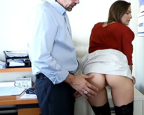 Boss teaches young secretary everything about good naked anal sex