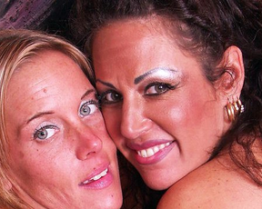 There is a dildo that lesbian MILFs with naked bodies use for own pleasure