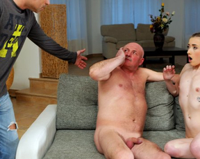 Babe and father-in-law want naked fucking and do it under nose of husband